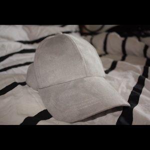 Grey suede dad hat